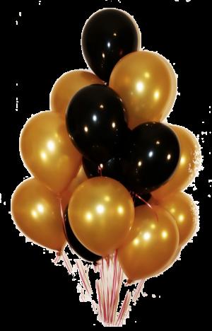 Облако из 20 золотисто-черных латексных шаров.